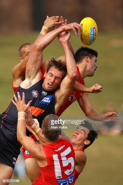 Lachie Keeffe of the Giants competes for the ball with the Swans defenders during the AFL Inter Club match between the Sydney Swans and the Greater...
