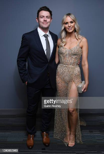 Lachie Neale of the Lions and his wife Julie Neale attends a function at the GABBA during the 2020 AFL Brownlow Medal count on October 18, 2020 in...