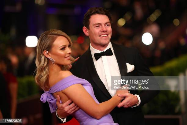 Lachie Neale of the Lions and Julie Neale arrive ahead of the 2019 Brownlow Medal at Crown Palladium on September 23, 2019 in Melbourne, Australia.