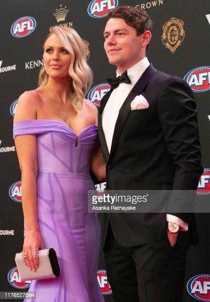 Lachie Neale of the Lions and Julie Neale arrives ahead of the 2019 Brownlow Medal at Crown Palladium on September 23, 2019 in Melbourne, Australia.