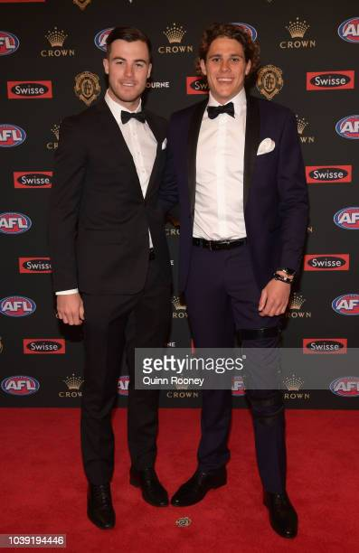Lachie Plowman and Charlie Curnow of the Blues arrive ahead of ahead of the 2018 Brownlow Medal at Crown Entertainment Complex on September 24 2018...