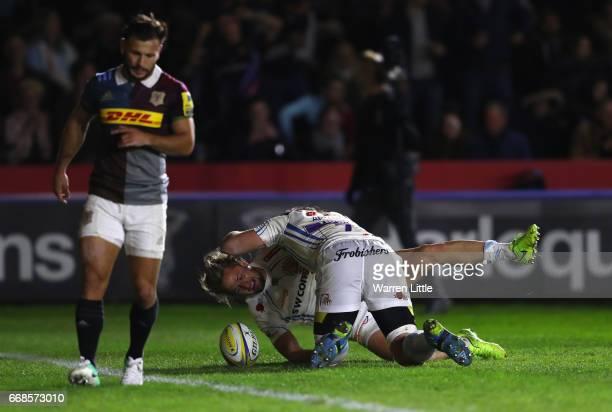 Lachie Turner of Exeter Chiefs scores a try during the Aviva Premiership match between Harlequins and Exeter Chiefs at Twickenham Stoop on April 14...