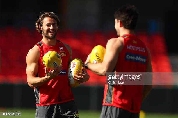 Lachie Weller during a Gold Coast Suns AFL training session at Metricon Stadium on July 27 2018 in Gold Coast Australia