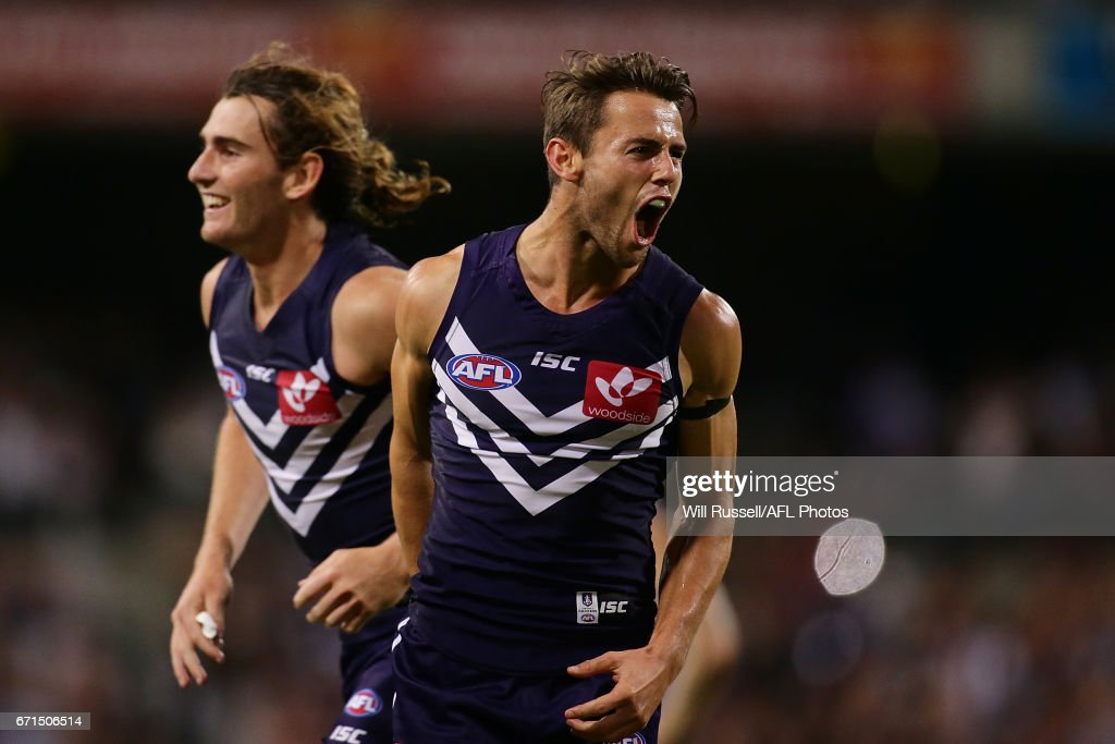 Lachie Weller of the Dockers celebrates after defeating the Kangaroos during the round five AFL match between the Fremantle Dockers and the North Melbourne Kangaroos at Domain Stadium on April 22, 2017 in Perth, Australia.
