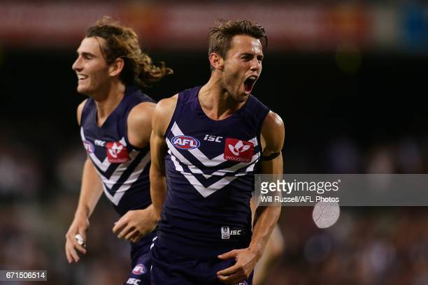 Lachie Weller of the Dockers celebrates after defeating the Kangaroos during the round five AFL match between the Fremantle Dockers and the North...
