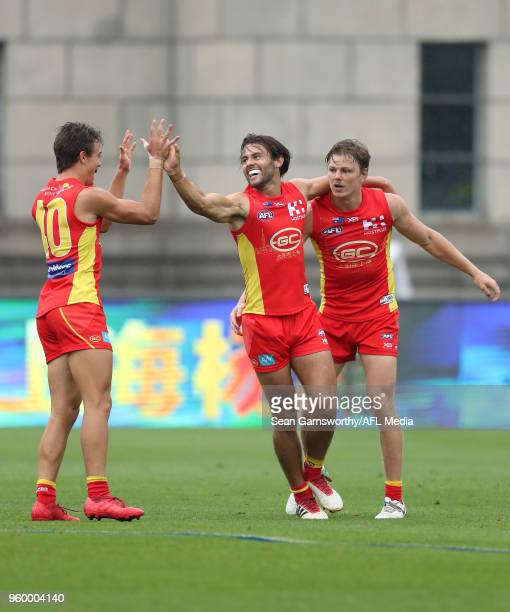 Lachie Weller of the Suns celebrates a goal during the 2018 AFL round nine match between the Gold Coast Suns and the Port Adelaide Power at Adelaide...