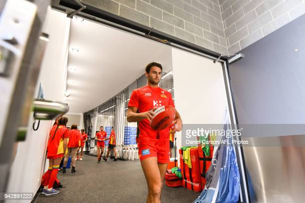 Lachie Weller of the Suns leaves the change rooms during the 2018 AFL round 03 match between the Gold Coast Suns and the Fremantle Dockers at Optus...