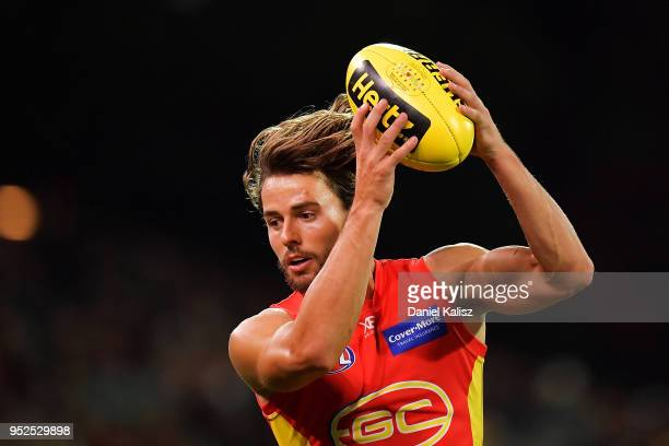 Lachie Weller of the Suns marks the ball during the round six AFL match between the Adelaide Crows and Gold Coast Suns at Adelaide Oval on April 28...
