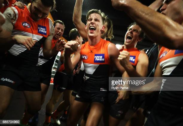 Lachie Whitfield of the Giants celebrates after the round nine AFL match between the Greater Western Sydney Giants and the Richmond Tigers at...