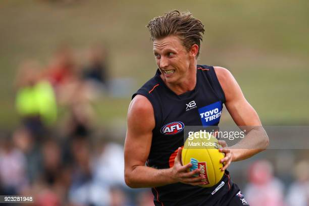 Lachie Whitfield of the Giants runs with the ball during the AFL Inter Club match between the Sydney Swans and the Greater Western Sydney Giants at...