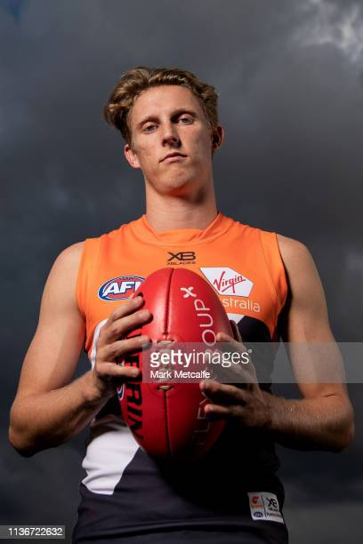 Lachie Whitfield poses during the Greater Western Sydney Giants media session at Sydney Olympic Park Sports Centre on March 19, 2019 in Sydney,...