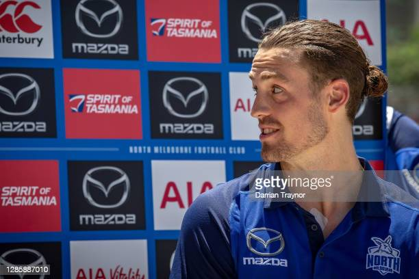 Lachie Young speaks to the media during a North Melbourne Kangaroos AFL media opportunity at Arden Street Ground on November 16, 2020 in Melbourne,...