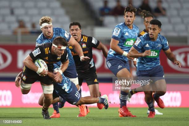 Lachlan Boshier of the Chiefs during the round one Super Rugby match between the Blues and the Chiefs at Eden Park on January 31, 2020 in Auckland,...
