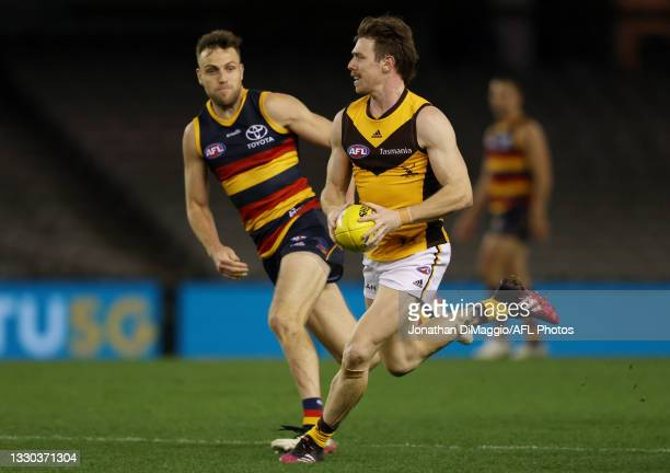 Lachlan Bramble of the Hawks in action during the round 20 AFL match between Adelaide Crows and Hawthorn Hawks at Marvel Stadium on July 24, 2021 in...