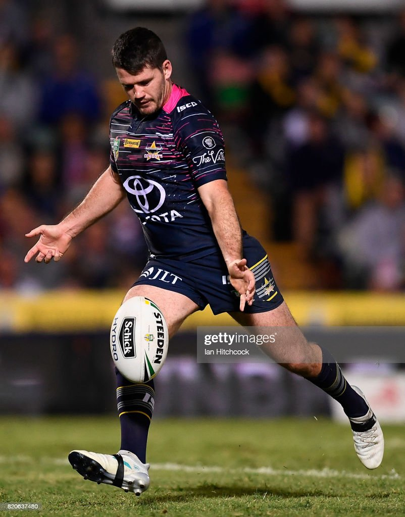 Lachlan Coote of the Cowboys attempts a field goal during the round 20 NRL match between the North Queensland Cowboys and the New Zealand Warriors at 1300SMILES Stadium on July 22, 2017 in Townsville, Australia.