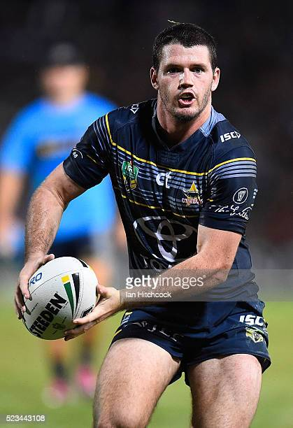 Lachlan Coote of the Cowboys looks to pass the ball during the round eight NRL match between the North Queensland Cowboys and the Parramatta Eels at...