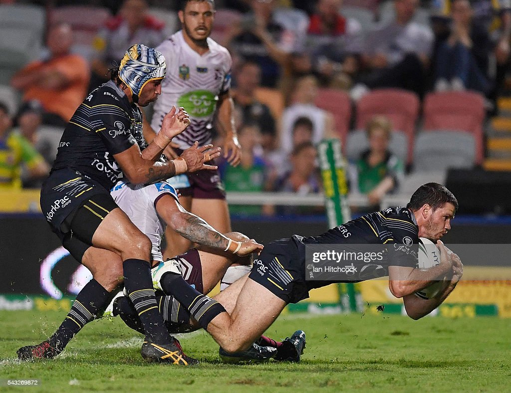 Lachlan Coote of the Cowboys scores a try during the round 16 NRL match between the North Queensland Cowboys and the Manly Sea Eagles at 1300SMILES Stadium on June 27, 2016 in Townsville, Australia.