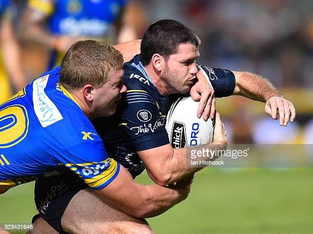 Lachlan Coote of the Cowboys scores a try during the round eight NRL match between the North Queensland Cowboys and the Parramatta Eels at 1300SMILES...