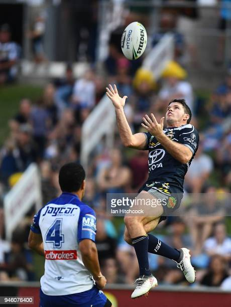 Lachlan Coote of the Cowboys takes a high ball during the round six NRL match between the North Queensland Cowboys and the Canterbury Bulldogs at...
