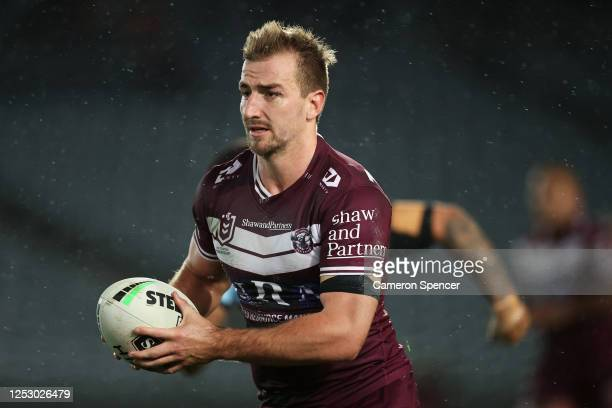 Lachlan Crocker of the Sea Eagles runs the ball during the round seven NRL match between the Manly Sea Eagles and the Cronulla Sharks at Central...
