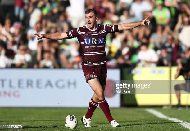Lachlan Croker of the Sea Eagles celebrates scoring a try during the round 7 NRL match between the Manly Warringah Sea Eagles and the Canberra...