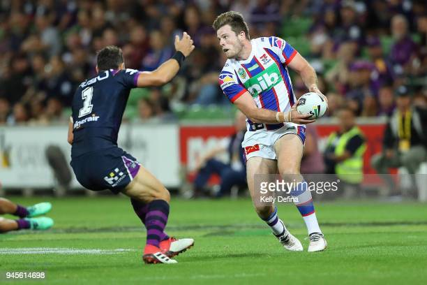 Lachlan Fitzgibbon of the Knights runs with the ball during the round six NRL match between the Melbourne Storm and the Newcastle Knights at AAMI...