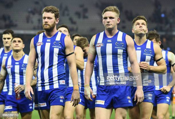 Lachlan Hansen and Jack Ziebell of the Kangaroos looks dejected after losing the round 13 AFL match between the North Melbourne Kangaroos and the St...
