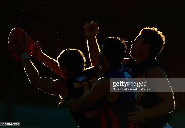 Lachlan Hansen of the Werribee Tigers takes a mark ahead of Jordan Lisle of Port Melbourne during the round three VFL match between Port Melbourne...