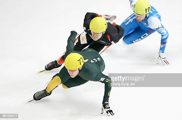 Lachlan Hay of Australia competes in the Men's 1500M quarter finals during day one of the 2008 ISU World Short Track Speed Skating Championships at...