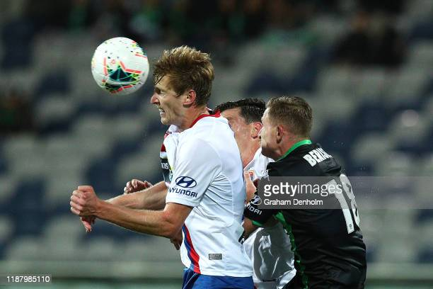 Lachlan Jackson of the Jets heads the ball during the round 6 A-League match between Western United and the Newcastle Jets at GMHBA Stadium on...