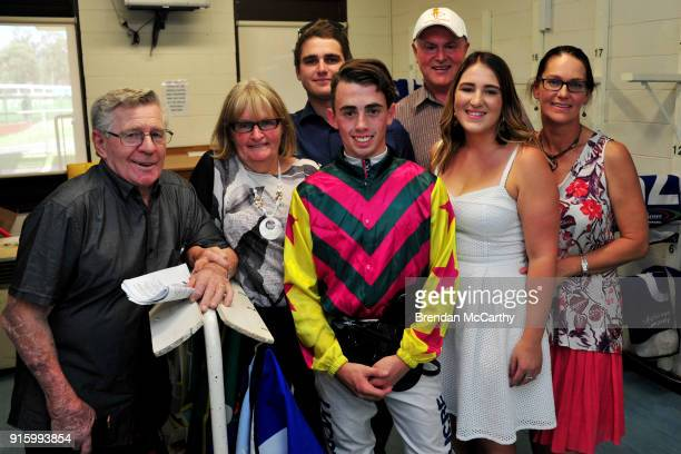 Lachlan King and members of the Crowell family after winning the Colin Browell Memorial BM58 Handicap at Bendigo Racecourse on February 09 2018 in...