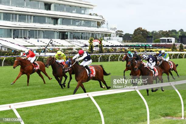 Lachlan King riding Johnny Get Angry wins race seven the Aami Victoria Derby from Fred W Kersley riding Hit The Shot and Damien Oliver riding Young...