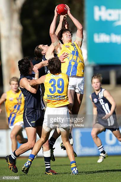 Lachlan Knight of the Jets marks the ball during the round nine TAC Cup match between the Western jets and the Geelong Falcons at Avalon Airport Oval...