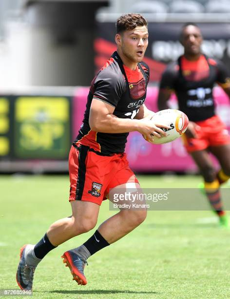 Lachlan Lam looks to pass during a PNG Kumuls Rugby League World Cup captain's run on November 11 2017 in Port Moresby Papua New Guinea