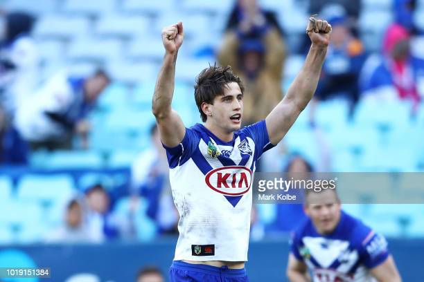 Lachlan Lewis of the Bulldogs celebrates kicking the match winning field goal during the round 23 NRL match between the Canterbury Bulldogs and the...