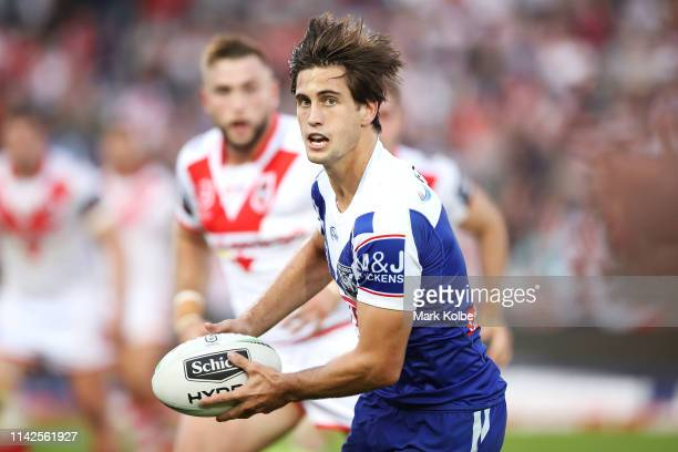 Lachlan Lewis of the Bulldogs runs the ball during the round five NRL match between the St George Illawarra Dragons and the Canterbury Bulldogs at...