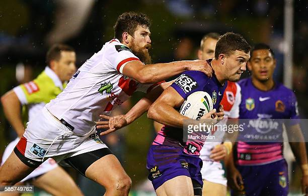 Lachlan Maranta of the Broncos is tackled during the round 22 NRL match between the St George Illawarra Dragons and the Brisbane Bronocs at WIN...