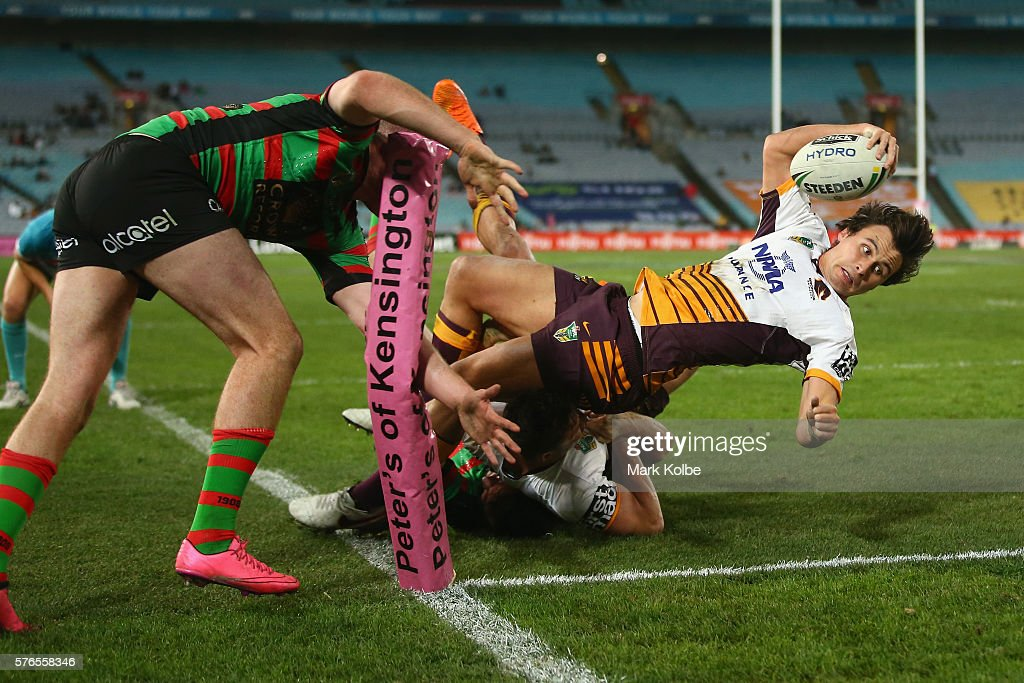 Lachlan Maranta of the Broncos puts a foot into touch as he is tackled attempting to score a try during the round 19 NRL match between the South Sydney Rabbitohs and the Brisbane Broncos at ANZ Stadium on July 16, 2016 in Sydney, Australia.
