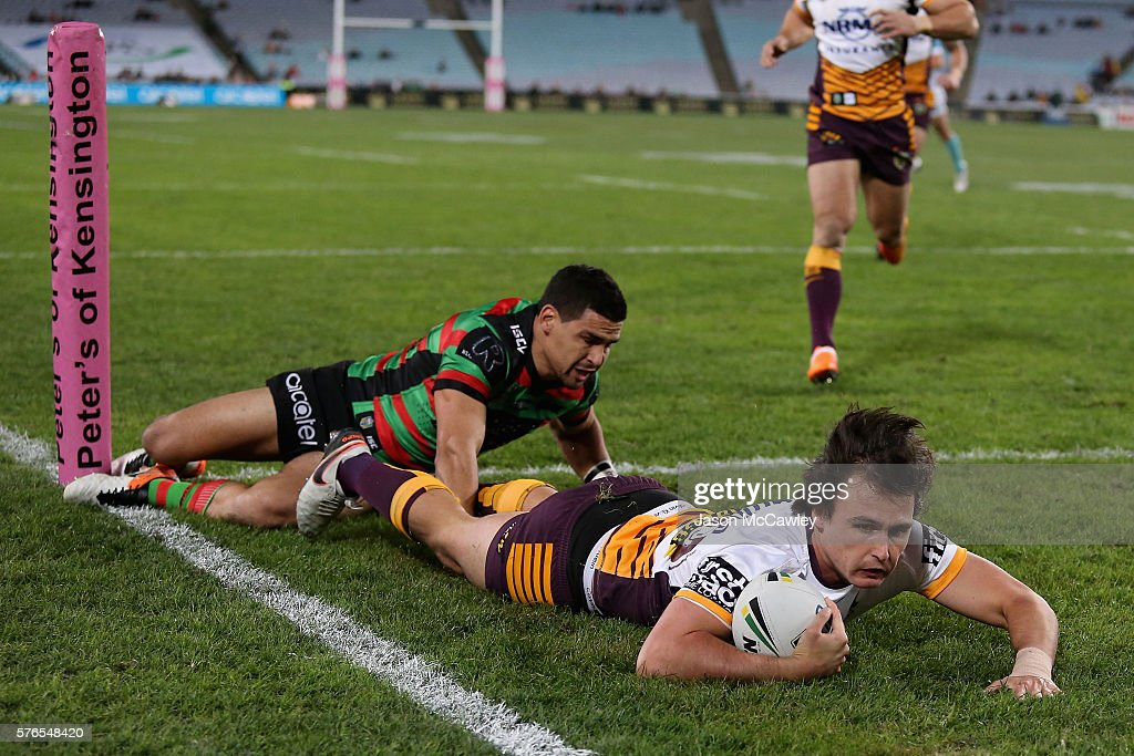 Lachlan Maranta of the Broncos scores a try during the round 19 NRL match between the South Sydney Rabbitohs and the Brisbane Broncos at ANZ Stadium on July 16, 2016 in Sydney, Australia.