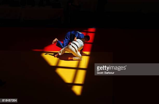 Lachlan Moorhead of England competes against Ryan Quigley of Scotland in the Boys -73 kg judo on day 1 of the 2017 Youth Commonwealth Games at Kendal...