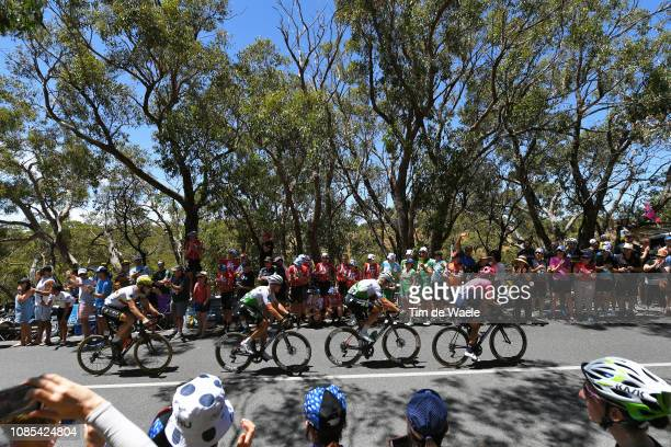 Lachlan Morton of Australia and Team EF Education First Pro Cycling / Lars Ytting Bak of Denmark and Team Dimension Data / Michael Valgren Andersen...