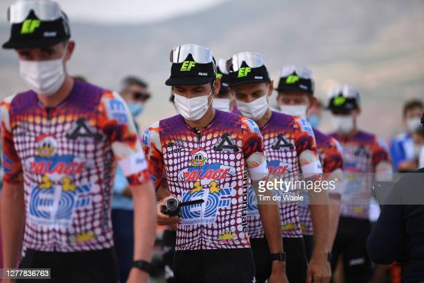 Lachlan Morton of Australia and Team EF Pro Cycling / EF Pro Cycling special Rapha x Palace Skateboards / Mask / Covid safety measures / during the...