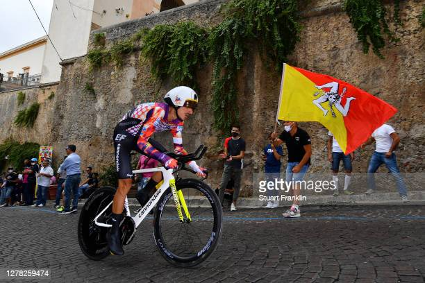 Lachlan Morton of Australia and Team EF Pro Cycling / Monte Caputo / Public / Fans / Flag / during the 103rd Giro d'Italia 2020, Stage 1 a 15,1km...