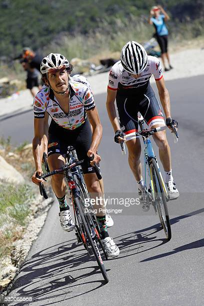 Lachlan Morton of Australia riding for Jelly Belly presented by Maxxis leads Peter Stetina riding for TrekSegafreda on the the climb of Gibraltar...