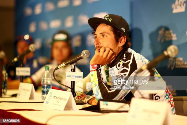 Lachlan Morton of Australia riding for Team Dimension Data in the TAG Heuer Best Young Rider jersey speaks at the press conference following stage 7...