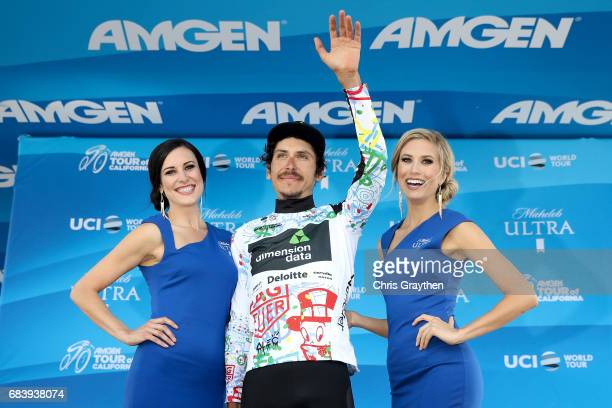 Lachlan Morton of Australia riding for Team Dimension Data stands on stage in the TAG Heuer Best Young Rider Jersey during stage 3 of the AMGEN Tour...