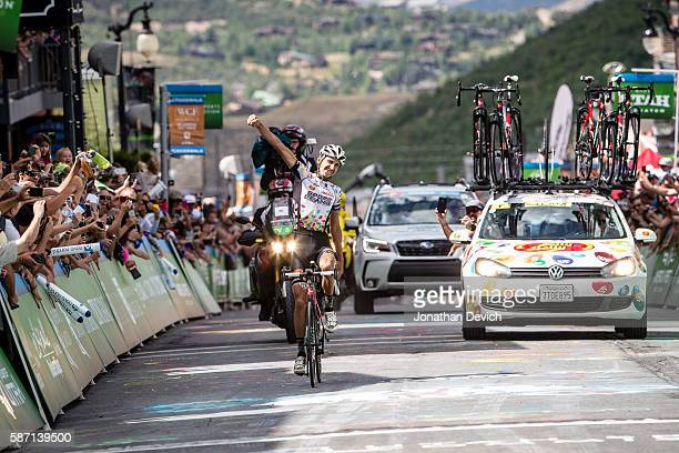 Lachlan Morton of the Jelly Belly Pro Cycling Team wins stage 7 of the Larry H Miller Tour of Utah Stage 7 Park City on August 7 2016 in Park City...