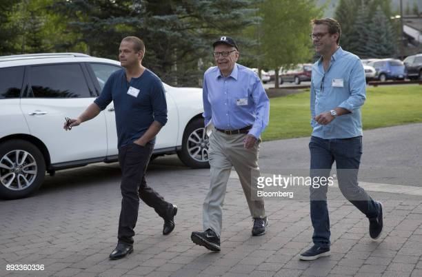 Lachlan Murdoch a board member of News Corp from left Rupert Murdoch chairman and chief executive officer of News Corp and James Murdoch deputy chief...