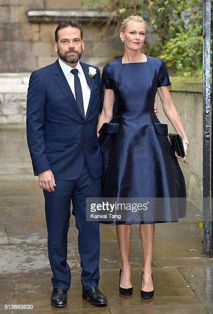 Lachlan Murdoch and his wife Sarah arrive for the wedding of Jerry Hall to Rupert Murdoch at St Brides Church on March 5 2016 in London England