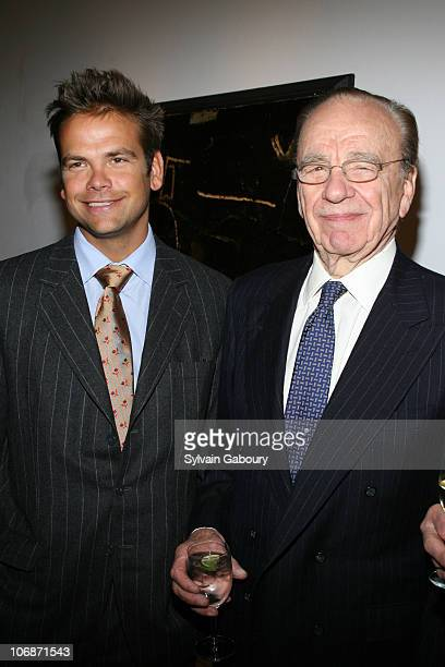 Lachlan Murdoch and Rupert Murdoch during A party for Tom Perkins' new book 'Sex and the Zillionaire' at the Allan Stone Gallery on 113 East 90th...